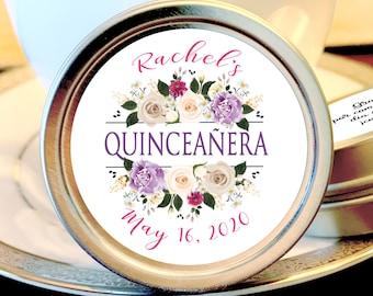 Quinceañera Party Favors - Bat Mitzvah Favors - Birthday Decor - Birthday Mints - Birthday Favors - Quinceañera Mint Tins - Sweet 16