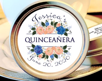 Coral and Blue Rose Quinceañera Party Mint Tins - Quinceañera Favors - Birthday Decor Birthday Mints Birthday Favors Quinceañera Mint Tins