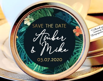 Save the Date Favors - Personalized Engagement Favors - Save The Date Ideas - Save the Date Mints - 12 Mint Favors - Tropical Leaves