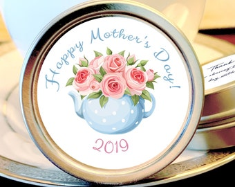 Mother's Day Candy Favors  - Mothers Day Mint Tin Favors - Mother's Day Mints - Custom Made Mothers Day Favors  - Tea Cup with Pink Roses
