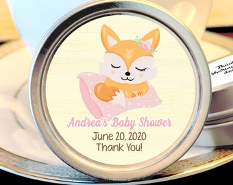 Woodlands Fox Baby Shower Mint Tins - Baby Fox Woodlands - Baby Girl Favors - Baby Shower Favors - Fox Baby Shower Favors