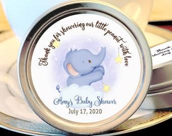 12 Little Elephant Baby Shower Favors | Personalized Mint Tins | Girl Baby Shower | Boy Baby Shower | Cute Elephant Reaching for the Stars