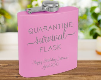 Quarantine Survival Flask | Personalized Flask | Pandemic 2020 | Quarantine Hip Flask | Social Distancing / Quarantine 2020