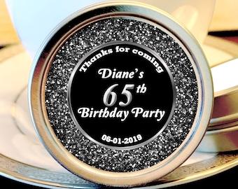12 Personalized Silver Sparkle Milestone Birthday Mint Tins - Milestone Birthday - Birthday Favors - Birthday Mints - Birthday Decor