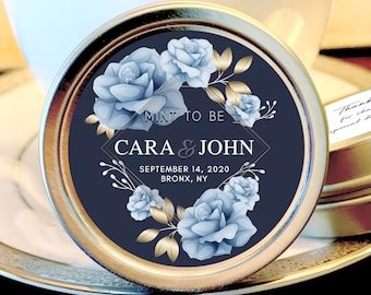 Personalized Wedding Mint Tin Favors | Floral Blue and Gold Design | Personalized Silver Round Candy Tin | Mint Favors | Wedding Favors