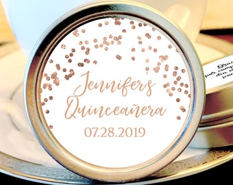 Rose Gold  Quinceañera Party Mint Tins - Quinceañera Favors - Birthday Decor - Birthday Mints - Birthday Favors - Quinceañera Mint Tins