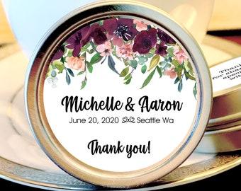 Burgundy Rose Bridal Shower Favor Mint Tins, Personalized Wedding Favors, Bridal Shower Favors, Wedding Decor,  Breath Mint Favors