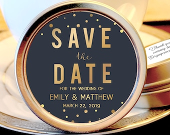 Save the Date Favors - Personalized Engagement Favors - Save The Date Ideas - Save the Date Mints - 12 Mint Favors - Gold Dots and Slate