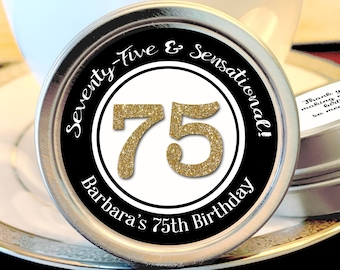 75th Birthday Mint Tin Party Favors - 75 and Sensational - Birthday Party Favors - 75 and Fabulous  - Birthday Favor Ideas