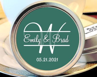 Personalized Monogram Thank You Wedding Guest Mint Favors - Mint - Silver Mint Tins  - Custom Colors