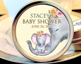 12 Elephants Baby Shower Mint Tins - Baby Elephant Woodlands - Baby Animals Favors - Baby Shower Favors - Elephants Baby Shower Favors