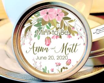 Pink Floral Bridal Shower Favors | Wedding Breath Mints | Pink Floral Mint Tins | Bridal Shower Decorations | Wedding Favors | Set of 12