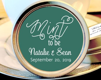 Personalized Mint to Be Wedding Favors Mint Tins - Mint to Be Favors,  Wedding Decor,  Wedding Favors,  Mint Tins,  Sage and White
