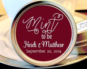 Personalized Mint to Be Wedding Favors Mint Tins - Mint to Be Favors,  Wedding Decor,  Wedding Favors,  Mint Tins,  Burgundy and White