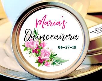 Pink Rose Bouquet Quinceañera Party Mint Tins - Quinceañera Favors - Birthday Decor - Mints - Birthday Favors - Quinceañera Mint Tins