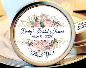 Personalized Wedding Favor Tin Mints | Bridal Shower Favors | Pink Floral Favor | Retirement favor | Rustic Wedding | Set of 12 Mint Tins