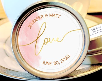 Personalized Wedding Mint Tin Favors | Pink and Gold Love | Personalized Silver Round Candy Tin | Mint Favors | Wedding Favors