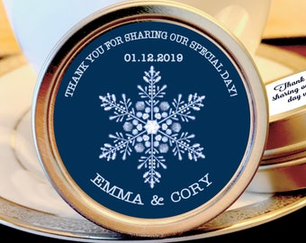 Winter Wedding Favors - 190 Personalized Winter Wedding Mint Favors - Wedding Favor Mint Tins - Personalized Wedding Favors - Wedding Decor