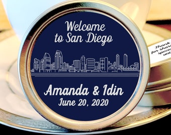 Personalized Wedding Favor San Diego Skyline Mint Tins - Mint to Be Wedding Mint Tins,  Wedding Mints, Bridal Shower Mints, Pack of 12