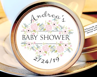 Personalized Pink Flowers Baby Shower Favors | Baby Shower Decor | Baby Shower Mints | Baby Shower Mint Tins | Baby Shower Party Supplies
