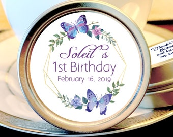 Purple Butterflies Birthday Favors - First Birthday Favors - Butterfly Favors - Birthday Favors - Personalized Candy Tins - Set of 12