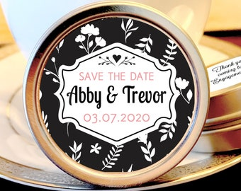 Save the Date Favors - Personalized Engagement Favors - Save The Date Ideas - Save the Date Mints - 12 Mint Favors - Floral Design