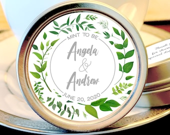 Personalized Silver Round Candy Tin | Green Leaf Favors |  Botanical Favors | Wedding Mint Favor | Wedding Favor | Shower Favor | Mint Tins