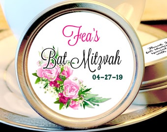 Coral and Blue Rose  Bat Mitzvah Party Mint Tins Birthday Decor Birthday Mints Birthday Favors Bat Mitzvah Mint Tins Bat Mitzvah Favors