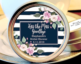Kiss the Miss Goodbye Silver Mint Favors | Pink Bridal Shower Favors | Silver Wedding Favors | Birthday Favors | Bridal Shower Favors