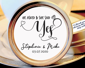 Personalized He Asked, She Said Yes Engagement Mint Tin Favors   Save the Date Favors   Mint Favors   Set of 12