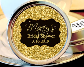 Faux Gold Glitter Bridal Shower Mint Tins - Gold Bridal Shower Mints - Bridal Shower Favors - Bridal Shower Mint Tins - Bridal shower Decor