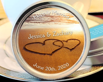 Double Hearts Drawn on the Beach Personalized Mint Tins | Wedding Favors | Beach Favors | Engagement Favors | Bridal Shower Favors