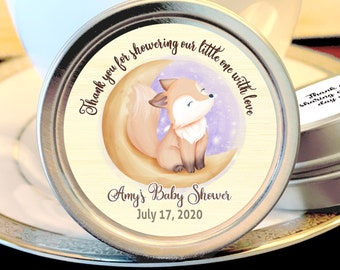 Woodlands Baby Shower Favors - Cute Fox Sitting on the Moon Baby Shower Favor - Cute Fox Baby Shower Candy Favors - Baby Shower Mint Tins