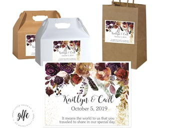 "4"" x 3""  Personalized Fall Wedding Welcome Box Labels -  Box Favor Labels - Welcome Stickers - Box Stickers - Fall Roses with Peonies"