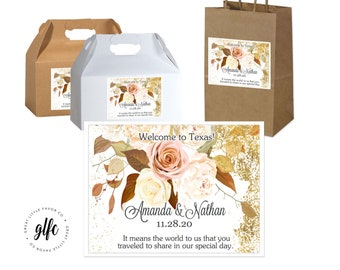 """4"""" x 3""""  Personalized Fall Wedding Welcome Box Labels -  Box Favor Labels - Welcome Stickers - Box Stickers - Fall Roses Fall Wedding"""