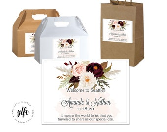 "4"" x 3""  Personalized Fall Wedding Welcome Box Labels -  Box Favor Labels - Welcome Stickers - Box Stickers - Burgundy Rose Fall Wedding"