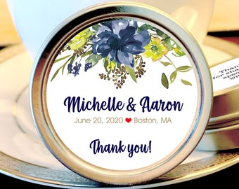 12 Navy Yellow and White Wedding Favor Mint Tins, Personalized Wedding Favors, Bridal Shower Favors, Wedding Decor,  Breath Mint Favors
