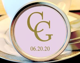 Personalized Monogram Wedding Favors |  Mint Wedding Favors | Wedding Mints| Monogram Mint Tin Favors | Engagement Party | Faux Gold Foil