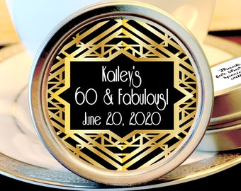 Gatsby Themed Art Deco Birthday Mint Tin Favors - Birthday Favors - Gatsby Decor - Art Deco - Birthday Decor - Silver Tins - Set of 12
