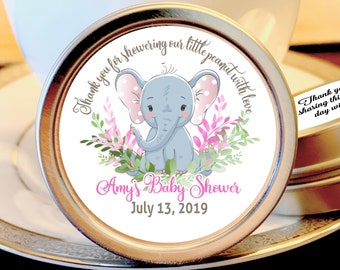 Elephant Baby Shower Favors For Girl | Mint Baby Shower Favors | Thank you for showering our little peanut with love