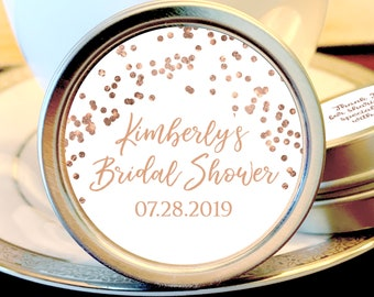 Personalized Bridal Shower Mint Tins |  Rose Gold Bridal Shower Favors | Bridal Shower Decor | Bridal Shower Mints | Bridal Shower Ideas