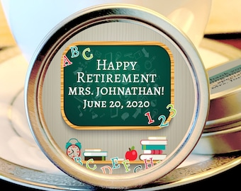 12 Teacher Retirement Mint Tins - RetireMints - Teacher - Retirement Favors - Retirement Decor - Retirement Mints - Retired Mints