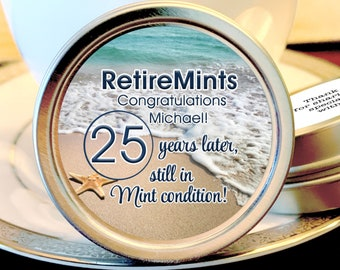 Beach Themed Retirement Mint Tins | Still in Mint Condition | Retire Mints | Retirement Favors | Retirement Party Decor | Set of 12