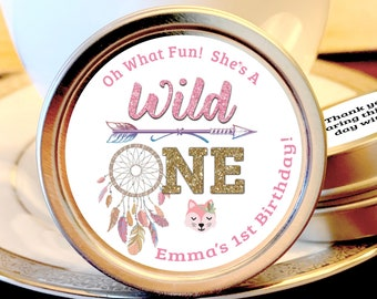 Pink Dream Catcher Wild One First Birthday Party Favors - Wild One Birthday Party Supplies - Wild One Mint Tins - Wild One Candy Containers