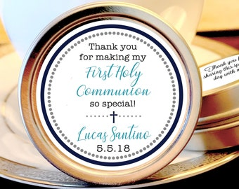 First Holy Communion, Candy Tins, Christening Mint Tins, Boys Communion Favors, Party Favors, Candy Favors, Christening Favors
