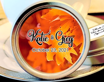 Fall Wedding Favors - Fall  Leaves Wedding Favors - Wedding Mints - Personalized Mint Tins - Autumn Wedding Favors - Wedding Favors