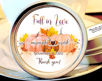 Fall in Love Fall Themed Pumpkin Wedding Favors - Rustic Wedding Favors - Mint Tin Favors -  Personalized Mint Tin Candy Party Favor