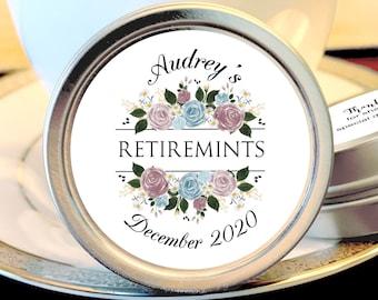 Retirement Mint Tins - RetireMints - Floral - Retirement Favors - Retirement Decor - Retirement Mints - Retired Mints - Ladies Retirement
