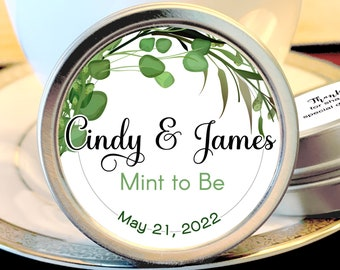 Personalized Botanical Succulents Wedding Favors, Mint Favors, Silver Wedding Favors, Rehearsal Dinner, Bridal Shower, Reception Favors