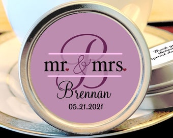 Personalized Monogram Mr and Mrs Thank You Wedding Guest Mint Favors - Mint - Silver Mint Tins  - Custom Colors